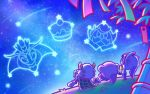 1boy 1girl bamboo cake cape constellation food from_behind grass kirby kirby:_planet_robobot kirby:_triple_deluxe kirby_(series) max_profitt_haltmann night night_sky nintendo no_humans official_art pink_hair ponytail queen_sectonia shooting_star sitting sky susie_(kirby) tanabata tanzaku taranza