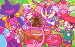 6+girls adeleine banana bee beret black_hair blue_eyes blue_hair blush_stickers bouncy_(kirby) bow chocolate_fountain chuchu_(kirby) claycia drawcia drooling eating elline_(kirby) food fruit gloves grey_skirt hat heart kirby kirby_(series) marshmallow multicolored_hair multiple_girls nintendo official_art peeking_out pink_hair queen_sectonia ribbon_(kirby) short_hair skirt smock star_rod strawberry streaked_hair susie_(kirby) tree valentine witch_hat