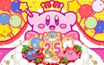 8others animal anniversary arms_up bird birthday birthday_cake blush_stickers cake candle cape cat chuchu_(kirby) coo_(kirby) crown dark_matter_(specie) fish food gooey hal_laboratory_inc. hamster hoshi_no_kirby hoshi_no_kirby_3 kine_(kirby) kirby kirby's_dream_land_3 kirby_(series) kirby_(specie) nago nintendo no_humans octopus official_art owl pitch_(kirby) plate rick_(kirby) sitting smile solo star_rod strawberry_shortcake tongue tongue_out