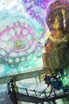 1girl absurdres bangs black_legwear black_shoes blonde_hair blue_eyes blunt_bangs building clouds cockpit day destruction dj_takowasa domino_mask dual_wielding headset hero_charger_(splatoon) hero_roller_(splatoon) highres holding holding_weapon inkling kashu_(hizake) long_hair long_sleeves looking_at_another mask monster_girl open_mouth outdoors railing robot running shoes splatoon squidbeak_splatoon tentacle_hair thigh-highs waist_cape weapon yellow_vest