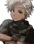 1boy boey_(fire_emblem) brown_eyes cape circlet crossed_arms dark_skin fire_emblem fire_emblem_echoes:_mou_hitori_no_eiyuuou gloves kometubu0712 simple_background upper_body white_background white_hair