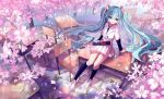 1girl aqua_eyes aqua_hair chair cherry_blossoms desk diploma floating_hair full_body hatsune_miku highres kneehighs long_hair matching_hair/eyes necktie on_desk petals school_uniform siji_(szh5522) sitting sitting_on_desk skirt solo tree twintails very_long_hair vocaloid