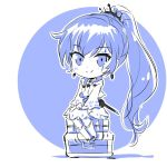 1girl boots chest chibi eye_scar iesupa ponytail rwby rwby_chibi sitting smile solo suitcase weiss_schnee