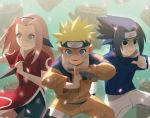 1girl 2boys absurdres alex_cho black_eyes black_hair blonde_hair blue_eyes fighting_stance forehead_protector green_eyes haruno_sakura highres huge_filesize kunai log looking_at_viewer multiple_boys naruto petals pink_hair smile spiky_hair uchiha_sasuke uzumaki_naruto weapon whisker_markings whiskers
