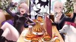 2girls arm_support commentary_request cup dog doughnut eating fate/apocrypha fate/grand_order fate_(series) food french_fries fur_trim hamburger hand_up highres indoors jeanne_alter legs_crossed looking_to_the_side miniskirt mouth_hold multiple_girls one_eye_closed pale_skin ruler_(fate/apocrypha) saber saber_alter skirt sword table tsukimoto_aoi weapon white_hair yellow_eyes