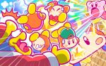 1boy backwards_hat baseball_cap beanie bird blush_stickers boom_microphone bow bowtie car closed_eyes ground_vehicle hat jitome king_dedede kirby kirby's_blowout_blast kirby_(series) microphone motor_vehicle nintendo no_humans official_art open_mouth penguin robe spitting star surprised sweatdrop tears tongue tongue_out waddle_dee