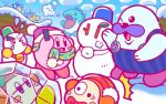 backwards_hat baseball_cap bell blush_stickers bobblehat bow bowtie chilly_(kirby) clouds earmuffs frozen hat ice_dragon_(kirby) jitome kirby kirby_(series) mr._frosty no_humans official_art one_eye_closed overalls pengi_(kirby) scarf snow snowman surprised tears waddle_dee walrus