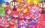 3girls 5boys adeleine arms_up axe_knight_(kirby) bird black_hair blush_stickers bush closed_eyes drumsticks elline_(kirby) flute food fruit hishimochi instrument javelin_knight jealous jitome kirby kirby_(series) mace_knight mask meta_knight multicolored_hair multiple_boys multiple_girls musical_note nintendo official_art penguin pink_hair ponytail robot short_hair sitting smile smock strawberry susie_(kirby) sweatdrop taiko_drum taiko_sticks tears trident_knight video_camera waddle_dee