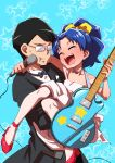 1boy 1girl black_hair blue_background blue_hair bow bowtie butler carrying cheek_squash choker closed_eyes cowboy_shot dress electric_guitar glasses guitar hair_bow highres instrument kirakira_precure_a_la_mode long_hair microphone mizushima_mitsuyoshi opaque_glasses open_mouth precure princess_carry simple_background smile star starry_background tategami_aoi uchuu_ika