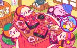 backwards_hat baseball_cap beanie bow bowtie character_doll chopsticks coo_(kirby) dyna_chick haori hat headphones japanese_clothes jitome kirby kirby_(series) kotatsu laughing new_year nintendo notepad official_art osechi phone shelf sweatdrop table television waddle_dee