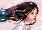 1girl black_eyes black_hair blurry collared_shirt depth_of_field facial_mark flowing_hair lips long_hair nose original parted_lips petals pink_background red_lips shirt solo upper_body wataboku white_shirt wing_collar