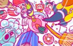 1girl bandanna blush_stickers bow bowtie broom broom_hatter bubble_head_(kirby) camera carrot closed_eyes crayon doughnut dustcloth flying_sweatdrops food green_hair gryll_(kirby) hat inhaling jitome kirby kirby_(series) maxim_tomato microphone official_art simple_background waddle_dee white_background witch_hat