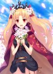 1girl :d bangs black_leotard blonde_hair blue_sky blush bouquet bow breasts cape commentary_request cowboy_shot day earrings ereshkigal_(fate/grand_order) fate/grand_order fate_(series) flower glowing groin hair_bow hair_flower hair_ornament highres holding holding_bouquet jewelry kaina_(tsubasakuronikuru) leotard long_hair looking_at_viewer open_mouth outdoors parted_bangs petals red_bow red_cape red_eyes round_teeth sky small_breasts smile solo standing teeth tiara tohsaka_rin two_side_up very_long_hair