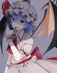 1girl arm_at_side ascot bangs bat_wings blood blood_in_mouth blood_on_face bloody_hands blue_hair brooch finger_licking frilled_shirt_collar frills hair_between_eyes hand_up hat hat_ribbon highres jewelry licking looking_at_viewer mob_cap nail_polish puffy_short_sleeves puffy_sleeves red_eyes red_nails red_ribbon remilia_scarlet ribbon shaded_face shirt short_sleeves skirt skirt_set solo tongue tongue_out touhou white_shirt white_skirt wings wrist_cuffs yurumawari