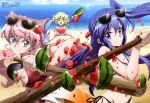 3girls absurdres beach bikini blonde_hair blue_eyes blue_hair blush breasts brown_hair day elfnein food fruit h-new hair_ornament halterneck highres kazanari_tsubasa large_breasts long_hair maria_cadenzavna_eve multiple_girls navel ocean official_art open_mouth pink_hair reverse_grip senki_zesshou_symphogear short_hair side-tie_bikini side_ponytail smile stick suikawari sunglasses sunglasses_on_head swimsuit very_long_hair violet_eyes water watermelon
