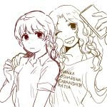 2girls ;p alisa_(girls_und_panzer) alternate_hairstyle braid cellphone earrings freckles girls_und_panzer hand_on_another's_shoulder jewelry kay_(girls_und_panzer) multiple_girls one_eye_closed phone shirt short_hair smartphone smile t-shirt tongue tongue_out translation_request
