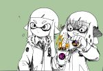 2girls ? bangs blunt_bangs coffee domino_mask green_background hand_in_pocket headgear inkling jacket long_hair looking_afar mask multiple_girls pointy_ears shaded_face short_hair simple_background splatoon tentacle_hair upper_body