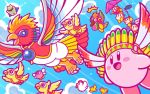beanie bird birdon_(kirby) blue_sky blush_stickers bow bowtie bronto_burt chick chicken clouds copy_ability dyna_blade dyna_chick flying hang_gliding hat headphones kirby kirby_(series) looking_at_another microphone nintendo official_art open_mouth pilot_helmet sky smile starman_(kirby) tookey twizzy waddle_dee