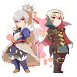 2boys armor blonde_hair chibi fire_emblem fire_emblem_if floral_background highres japanese_clothes leon_(fire_emblem_if) looking_at_viewer multiple_boys ponytail red_eyes takumi_(fire_emblem_if) white_hair
