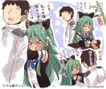 >_< 10s 1boy 1girl ^_^ ^o^ admiral_(kantai_collection) bare_shoulders black_hair black_ribbon black_serafuku blue_eyes blue_neckerchief closed_eyes detached_sleeves green_hair hair_ribbon heart holding holding_pen kantai_collection long_hair long_sleeves military military_uniform naval_uniform neckerchief open_mouth ribbon school_uniform serafuku short_hair smile suzuki_toto tanzaku translation_request twitter_username uniform yamakaze_(kantai_collection)