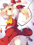1girl arms_up ascot bangs blonde_hair closed_mouth commentary_request crystal eyebrows_visible_through_hair eyes_visible_through_hair flandre_scarlet frilled_legwear frilled_shirt_collar frilled_skirt frills gengetsu_chihiro hat hat_ribbon jumping mob_cap puffy_short_sleeves puffy_sleeves red_eyes red_ribbon red_skirt red_vest ribbon shirt shirt_tucked_in short_sleeves side_ponytail simple_background skirt smile solo touhou vest white_hat white_legwear white_shirt wings