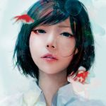 1girl air_bubble asian bangs black_eyes black_hair collared_shirt commentary_request fish goldfish highres lips looking_at_viewer nose original parted_lips portrait realistic revision shirt short_hair solo swept_bangs teeth wataboku white_shirt wing_collar