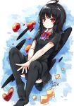 1girl ahoge bangs bent_knees black_dress black_hair black_legwear blush bow bowtie closed_mouth dress heart highres houjuu_nue looking_at_viewer maremay0513 no_wings red_bow red_bowtie red_eyes short_sleeves solo thigh-highs touhou v_arms