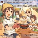 10s 4girls :d ^_^ ^o^ alternate_costume black_shorts blue_eyes brown_eyes brown_hair closed_eyes colored_pencil_(medium) commentary_request curry drink drinking_cup eating food frying_pan fubuki_(kantai_collection) hatsuyuki_(kantai_collection) holding holding_food holding_plate kantai_collection kirisawa_juuzou long_hair mittens miyuki_(kantai_collection) multiple_girls open_mouth plate salad sandwich shirayuki_(kantai_collection) shirt short_hair short_ponytail short_sleeves short_twintails shorts smile tent traditional_media translation_request twintails twitter_username white_shirt