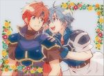 1boy 1girl armor blue_eyes blue_hair breastplate cape fingerless_gloves fire_emblem fire_emblem:_fuuin_no_tsurugi floral_background gloves highres pauldrons redhead roy_(fire_emblem) simple_background smile thany whispering