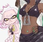 +_+ 2girls aqua_hair bare_shoulders black_hair breast_envy breasts cleavage close-up collarbone crop_top crown dark_skin dress envy fingerless_gloves gloves hand_on_hip hand_on_own_chin hime_(splatoon) iida_(splatoon) midriff mole mole_under_mouth multicolored_hair multiple_girls navel navel_piercing octarian partially_unzipped piercing pink_hair short_eyebrows simple_background sleeveless sleeveless_dress splatoon splatoon_2 stomach symbol-shaped_pupils tentacle_hair thinking two-tone_hair white_background white_hair yellow_eyes zipper zipper_pull_tab