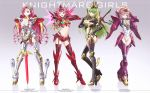 4girls anya_alstreim armor ass breasts butt_crack c.c. character_name claw_(weapon) cleavage code_geass copyright_name earrings energy_wings english euphemia_li_britannia gawain green_hair grey_eyes guren_seiten high_heels highres jewelry kallen_stadtfeld knife lancelot long_hair mecha_musume medium_breasts midriff mordred_(code_geass) multiple_girls navel outsider_0 pink_eyes pink_hair redhead reverse_grip short_hair sword twintails under_boob very_long_hair violet_eyes weapon yellow_eyes