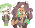 2girls anger_vein black_hair breasts cleavage cropped_jacket dark_skin domino_mask gun headphones hotaru_(splatoon) iida_(splatoon) inkerton-kun japanese_clothes kimono long_hair mask mole mole_under_eye mole_under_mouth multiple_girls oriental_umbrella simple_background splatoon splatoon_2 sweat tentacle_hair umbrella weapon white_background white_hair yellow_eyes zipper_pull_tab