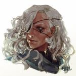 1girl ana_(overwatch) brown_eyes dark_skin eye_of_providence eyepatch facial_tattoo grey_hair hair_down hair_over_one_eye lips long_hair messy_hair nose old_woman one-eyed overwatch portrait solo tattoo white_background x-arielle
