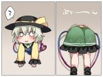 1girl ? commentary_request eyeball green_hair hammer_(sunset_beach) hat heart heart_of_string komeiji_koishi open_mouth short_hair skirt smile solo spoken_question_mark stuck third_eye through_wall touhou translation_request