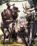 1girl animal bangs bare_shoulders bird black_dress black_gloves black_legwear blue_eyes breasts collarbone commentary_request day dress elbow_gloves flower giving gloves hair_over_one_eye highres holding holding_flower holding_sword holding_weapon knee_up medium_breasts moose nier_(series) nier_automata outdoors pascal_(nier_automata) pod_(nier_automata) post-apocalypse robot short_hair silver_hair sitting sleeveless sleeveless_dress solo sword swordsouls thigh-highs weapon yorha_type_a_no._2