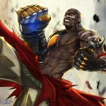 1boy african artist_name clenched_hand clenched_teeth dark_skin dark_skinned_male doomfist mechanical_arm navel overwatch shirtless signature teeth wallace_pires