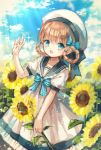 1girl blue_bow blue_eyes blue_nails blush bow brown_hair flower hair_bow hat highres looking_at_viewer nail_polish open_mouth original short_hair smile solo sunflower white_hat yumeichigo_alice