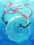1boy 1girl barefoot black_hair bubble closed_eyes feet fingerless_gloves gloves hands_on_another's_face highres kiss milotic nuku ocean pants pokemon pokemon_(creature) pokemon_(game) pokemon_oras sparkle underwater water yuuki_(pokemon)