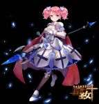 1girl armor armored_dress black_legwear black_saint cape character_request cleavage_cutout dress frilled_dress frills hair_ornament looking_back maorzshu official_art pink_eyes pink_hair polearm short_twintails shoulder_armor solo spear sword thigh-highs twintails weapon