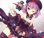 1girl bare_shoulders blush fate/grand_order fate_(series) flat_chest fujii_jun hat helena_blavatsky_(fate/grand_order) jacket looking_at_viewer one_eye_closed purple_hair short_hair smile solo strapless thigh-highs tree_of_life violet_eyes
