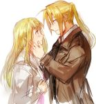 1boy 1girl blonde_hair blue_eyes blush coat couple earrings edward_elric eye_contact eyebrows_visible_through_hair fullmetal_alchemist hand_on_another's_cheek hand_on_another's_face hetero jacket jewelry long_hair looking_at_another ponytail riru simple_background white_background winry_rockbell yellow_eyes
