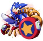 1boy arms_(game) full_body green_eyes grin hedgehog highres jewelry jumping looking_at_viewer male_focus motion_blur ring shoes smile sneakers solo sonic sonic_the_hedgehog sparkle spring_(object) wereshoes