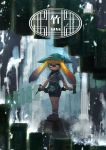 1girl ajirogasa apron bamboozler_14_(splatoon) bangs bike_shorts black_shorts blue_eyes blunt_bangs closed_mouth commentary_request domino_mask expressionless full_body green_apron green_hat hat highres holding holding_weapon inkling japanese_clothes kashu_(hizake) legs_together light_particles long_hair looking_away mask monster_girl orange_hair outdoors rock sandals shirt short_sleeves shorts single_vertical_stripe solo splatoon standing tabi tentacle_hair translation_request waist_apron water waterfall weapon white_legwear white_shirt