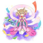 1girl animal_ears brown_hair cat_ears cat_tail detached_sleeves dress full_body hair_between_eyes hair_ornament hair_ribbon head_tilt highres holding japanese_clothes jewelry kneeling long_hair looking_at_viewer necklace pina_(sao) pink_dress pink_ribbon red_eyes ribbon sash see-through short_dress silica_(sao-alo) simple_background sleeveless sleeveless_dress solo sparkle star star_hair_ornament sword_art_online tail thigh-highs twintails white_background white_legwear