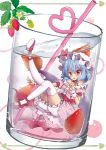 1girl :o alternate_costume bangs beni_kurage bloomers blue_hair center_frills checkered checkered_dress choker cup dress drink drinking_glass drinking_straw flower food fruit full_body gingham hat hat_ribbon heart heart_straw highres in_container knee_up leg_up looking_at_viewer minigirl mob_cap neck_ribbon off-shoulder_dress off_shoulder pink_dress puffy_short_sleeves puffy_sleeves red_eyes red_ribbon red_shoes remilia_scarlet ribbon ribbon_choker sash shoes short_sleeves soda solo strawberry strawberry_blossoms submerged thigh-highs touhou underwear white_background white_legwear wrist_cuffs