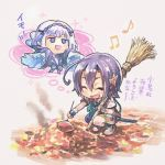 2girls ahoge asymmetrical_legwear beamed_quavers black_hair chibi closed_eyes food fukube hands_in_sleeves kogarasumaru_(tenka_hyakken) leaf multiple_girls musical_note nukemaru_(tenka_hyakken) pointy_ears roasting semiquaver short_hair simple_background sleeves_past_wrists smile squatting sweet_potato sword tan_background tenka_hyakken weapon