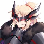 1girl armor black_fur blonde_hair dark_persona face fate/apocrypha fate_(series) horns long_hair mask ponytail saber_of_red simple_background smile solo teeth w white_background yorukun
