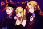 1girl 2boys alphonse_elric animal_ears bare_shoulders black_dress blonde_hair blue_eyes blush blush_stickers candy cat_ears chinese_clothes coat cross dress earrings edward_elric elbow_gloves food fullmetal_alchemist gloves grin happy hat jewelry lollipop long_hair looking_at_viewer looking_away multiple_boys open_mouth ponytail purple_background riru short_hair siblings smile sweatdrop translation_request vampire_costume winry_rockbell yellow_eyes