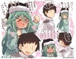 >_< 10s 1boy 1girl admiral_(kantai_collection) black_hair black_hat blue_eyes blush closed_eyes green_hair hat kantai_collection long_hair long_sleeves military military_uniform naval_uniform open_mouth pajamas short_hair speech_bubble striped striped_pajamas suzuki_toto translation_request twitter_username uniform yamakaze_(kantai_collection)