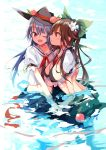 2girls bikini black_bikini black_hat blue_hair bow breasts brown_hair collared_shirt eye_contact flower food fruit green_bow green_skirt hair_bow hair_flower hair_ornament hand_holding hat hinanawi_tenshi large_breasts long_hair looking_at_another multiple_girls open_mouth partially_submerged peach red_eyes reiuji_utsuho shiny shiny_hair shirt skirt smile swimsuit tetsurou_(fe+) third_eye tied_shirt touhou white_flower white_shirt wing_collar